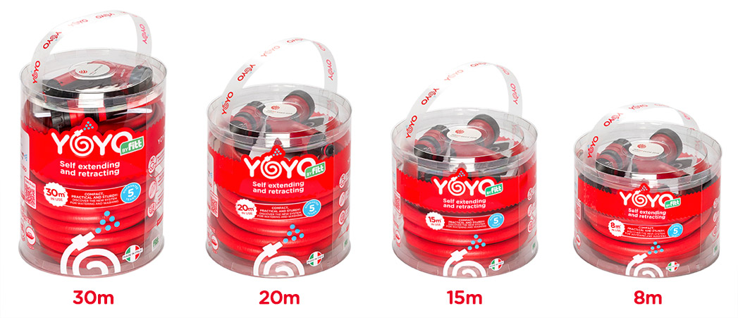 YOYO expandable hose YOYO comes in 4 different lengths (8, 15, 20 and 30 metres)…it is attractive, flexible, soft and pleasant to the touch.