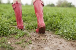 Red wellington boots